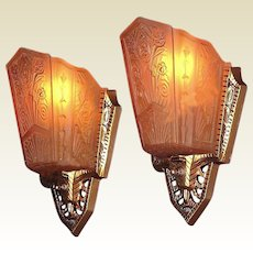 Ordinaire Pr 1930s Art Deco Wall Sconce Lighting Fixtures Original Vintage Slip Shades