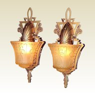 Vintage Pair Original Beardslee Art Deco Slip Shade Wall Sconces.  3 pair available, priced per pair