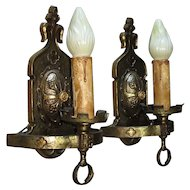 Vintage Pair of Revival / Heraldic Brass Wall Sconces 2 pair available priced per pair