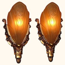 Pair 30s Cast Iron Slip Shade Sconces
