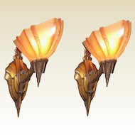 1920s - 1930s Solid Bronze Pair Iconic Art Deco Sconces. Oh yes and they are Rare