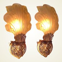 2 Pair Vintage Art Deco Slip Shade Sconces