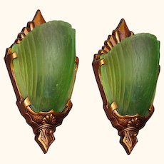 Vintage Pair Slip Shade Sconces with Rare Green Shades