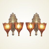 Single Only Vintage 2 Bulb Slip Shade Wall Sconces Original Finish and Patina