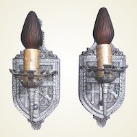 1920s Heraldic / Tudor Wall Sconces in Pewter 5 available priced per pair