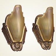 Original Finish 1930s Slip Shade Wall Sconces 2+ pair available