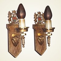 Pair Bronze Heraldic Single Candle Wall Sconces with Unicorn & Lion Original finish and Patina