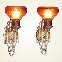 Pair 20s - 30s Sconces with an Art Deco and Spanish Revival Marriage