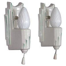 Pair White Porcelain Skyscraper Sconces with Hand Painted Green Accents