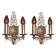 Bronze Two Bulb Sconces c.1920 - 1930s Original Finish and Patina