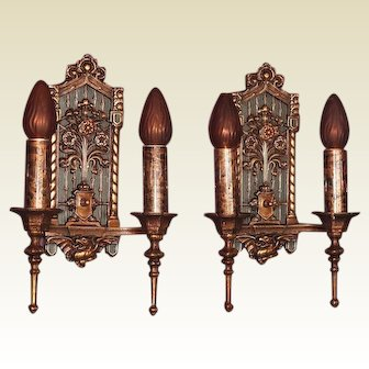 Regal and Stately Bronze 1920s Tudor Gothic Revival Wall Sconces