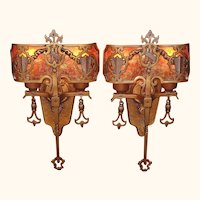 Pair 1920s Tudor Gothic Sconces with New Mica Shade ADA compliant