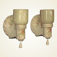 Pair Floral Pattern on Porcelain w/ Custard Shade