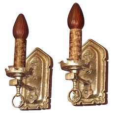 Spanish Revival Silver Colored Plated Sconces c.1925