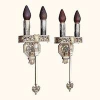 Large Tudor / Gothic Two Bulb Sconces 1920s