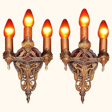 Pair Art Nouveau Bronze Sconces Original Finish