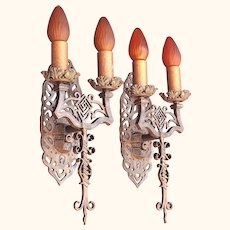 6 Spanish Revival Sconces Late 1920s