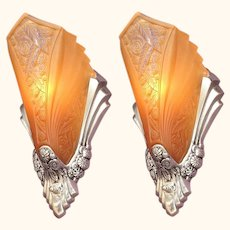Art Deco Sconces with Original Slip Shades 1920s
