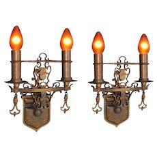 2+ Pair Bronze Spanish Revival Style