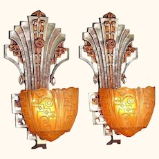 Pair C.1930 Lincoln Deco Sconces