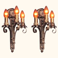 Moe Bridges 3 Bulb Cast Iron Sconce 2 pair available