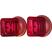 Pair Ruby Red Exit Signs on Copper