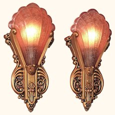 c. 1930s Virden Sconces with Pink Slip Shades