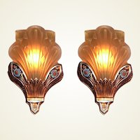 2 pr. Gorgeous Deco Slip Shade Sconces