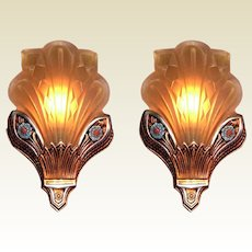 Gorgeous Deco Slip Shade Sconces
