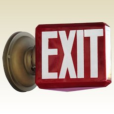 Ruby Red Beveled Exit Wall Sign Deco