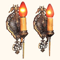 Pair Tudor / Revival style Bronze Sconces Original finish