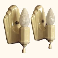 Light Yellow Porcelain Bath Sconces