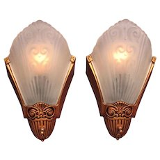 Pr 1920s - 30s Slip Shade Wall Sconces