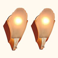 Pair Vintage Original MCM Deco Sconces