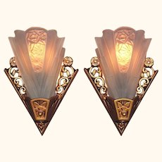 4 Lightolier Art Deco Bungalow Sconces vintagelights