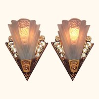 Pair Lightolier Art Deco Bungalow Sconces vintagelights