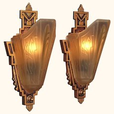 2 Pair Sconces with Consolidated Glass Slip Shades