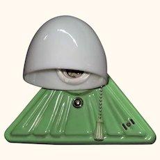 RARE Vintage Green Triangle Porcelain Fixture