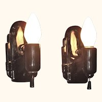 Pair black 1930s Vintage Porcelain Bath Sconces