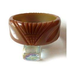 Vintage Bakelite Lotus Carved Bracelet Bangle