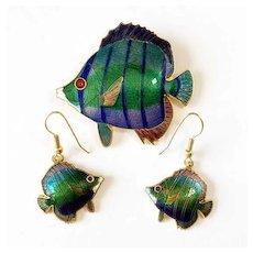 Enamel Fish Brooch/Pin and Earring Set