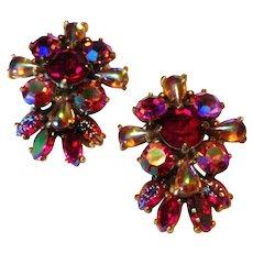 Vintage Schiaparelli Red and Pink Rhinestone Earrings