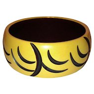 Bakelite Bangle Bracelet Butterscotch and Brown/Black Resin Washed Carved Half Circles: