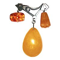 Russian Amber and Sterling Broach/Pin