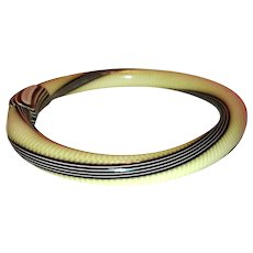 Lea Stein Brown and White Striped Bangle Cellulose Acetate Bracelet