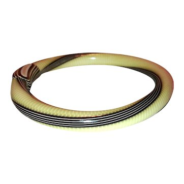 Lea Stein Brown and White Striped Bangle Cellulose Acetate Bracelet