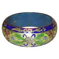 Vintage Cloisonne Floral Bangle Bracelet