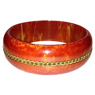 Bakelite Bangle Bracelet, Red Marbled With Chain