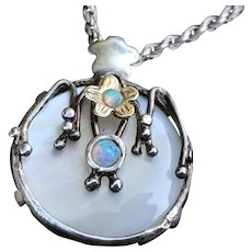 Gorgeous Handcrafted MOP Opal in Sterling Pendant w Chain Necklace