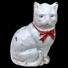 Vintage Kitty Cat Cast Iron Bank Statue